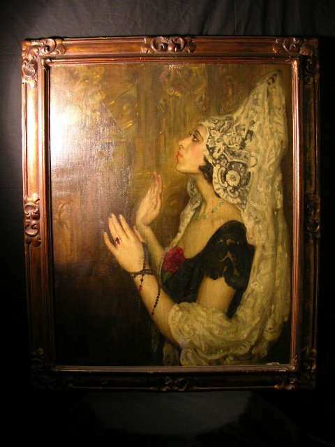 2877: OIL ON CANVAS OF A SPAINISH WOMAN DRESSED IN ELEG
