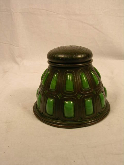 2964: TIFFANY STUDIOS BRONZE AND BLOWN GREEN GLASS INKW