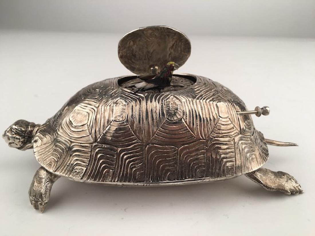 925 Silver bird box automaton in the form of a turtle