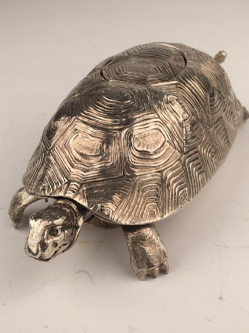 925 Silver bird box automaton in the form of a turtle - 2