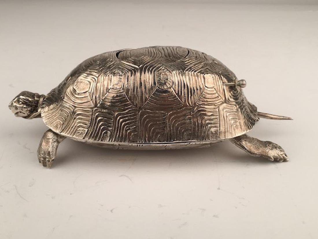 925 Silver bird box automaton in the form of a turtle - 3