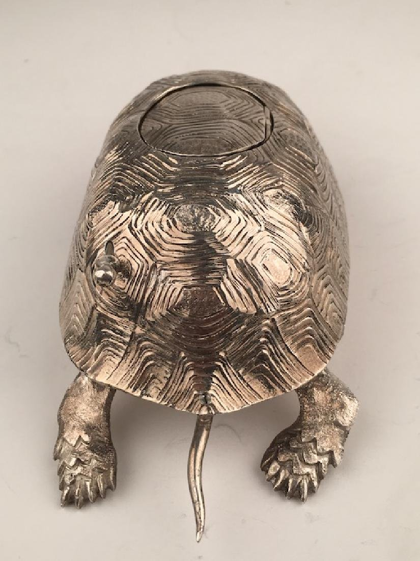 925 Silver bird box automaton in the form of a turtle - 4