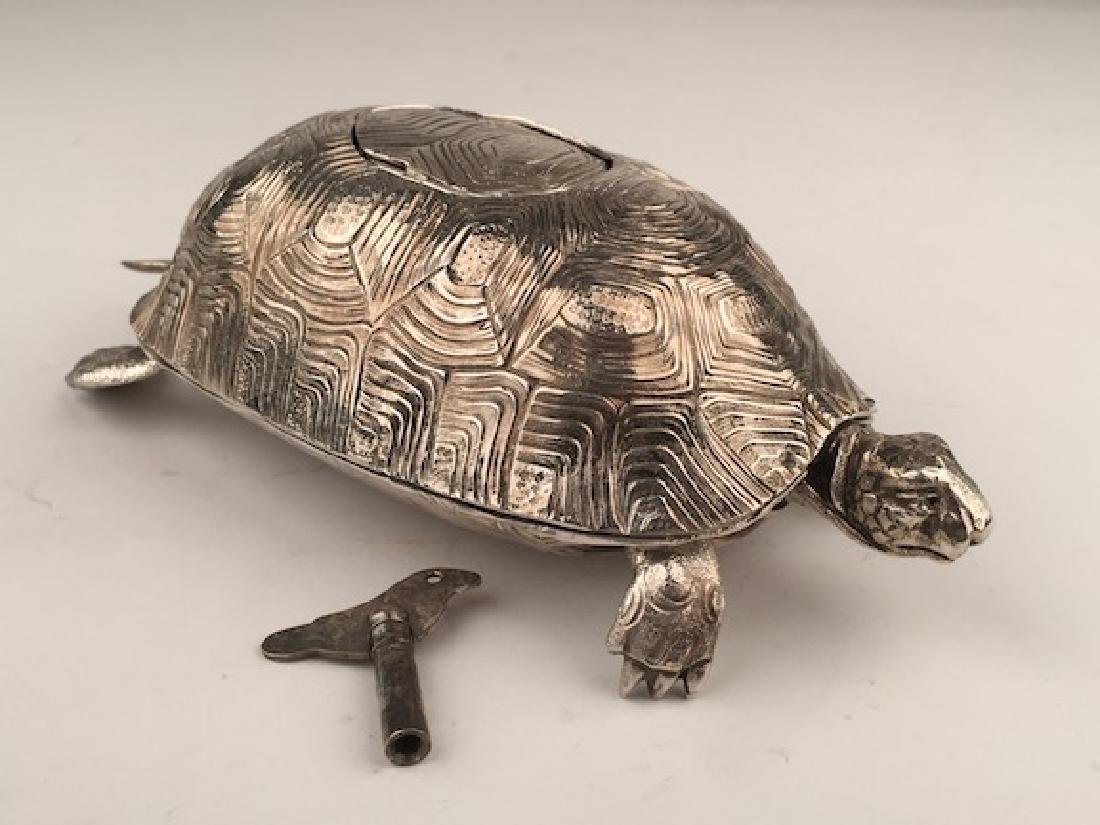 925 Silver bird box automaton in the form of a turtle - 5