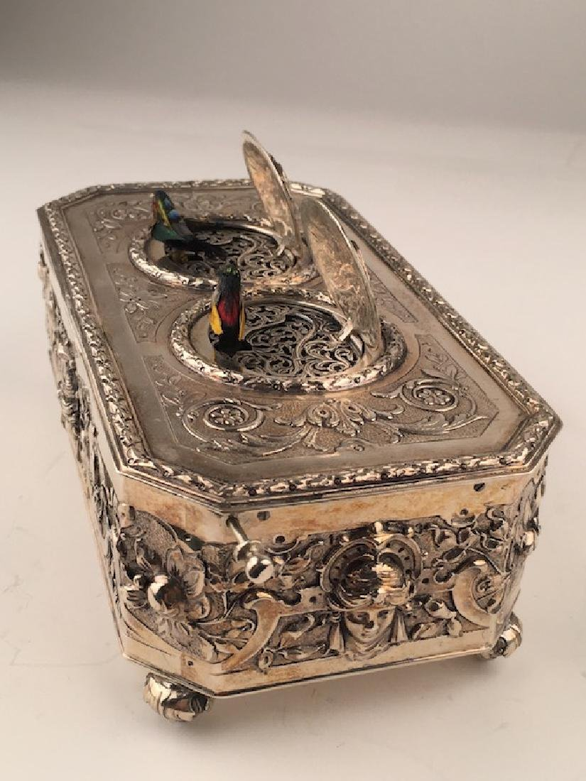 925 Silver mechanical double singing bird box when the - 2