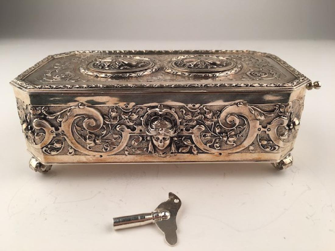 925 Silver mechanical double singing bird box when the - 3
