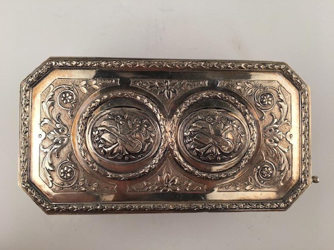 925 Silver mechanical double singing bird box when the - 6