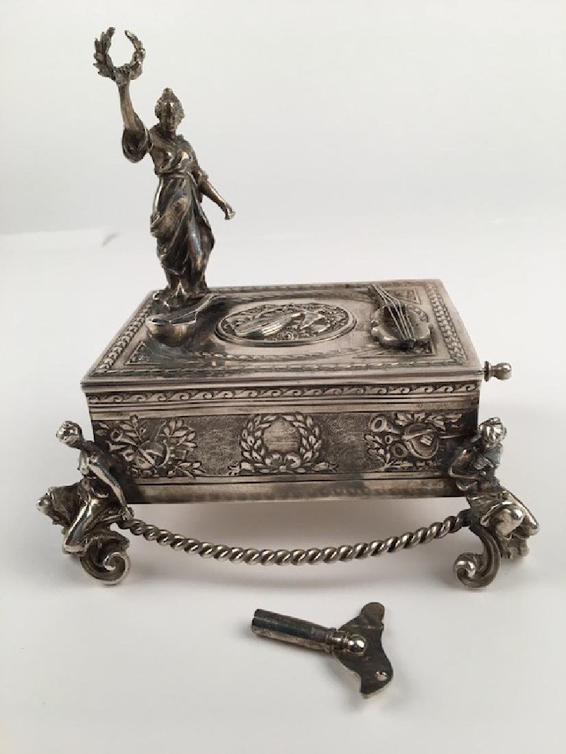 925 silver bird box with a lady holding a wreath.