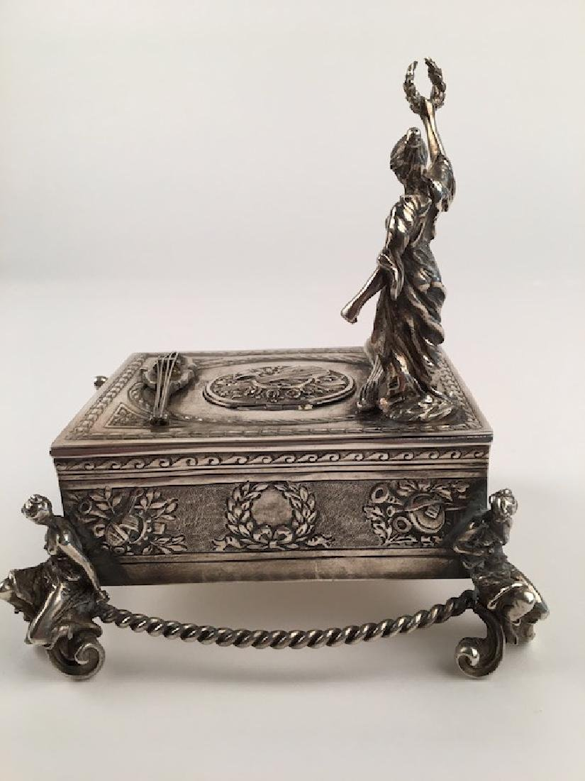 925 silver bird box with a lady holding a wreath. - 2
