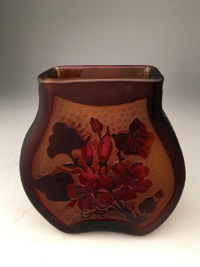 Galle two color cameo glass vase.