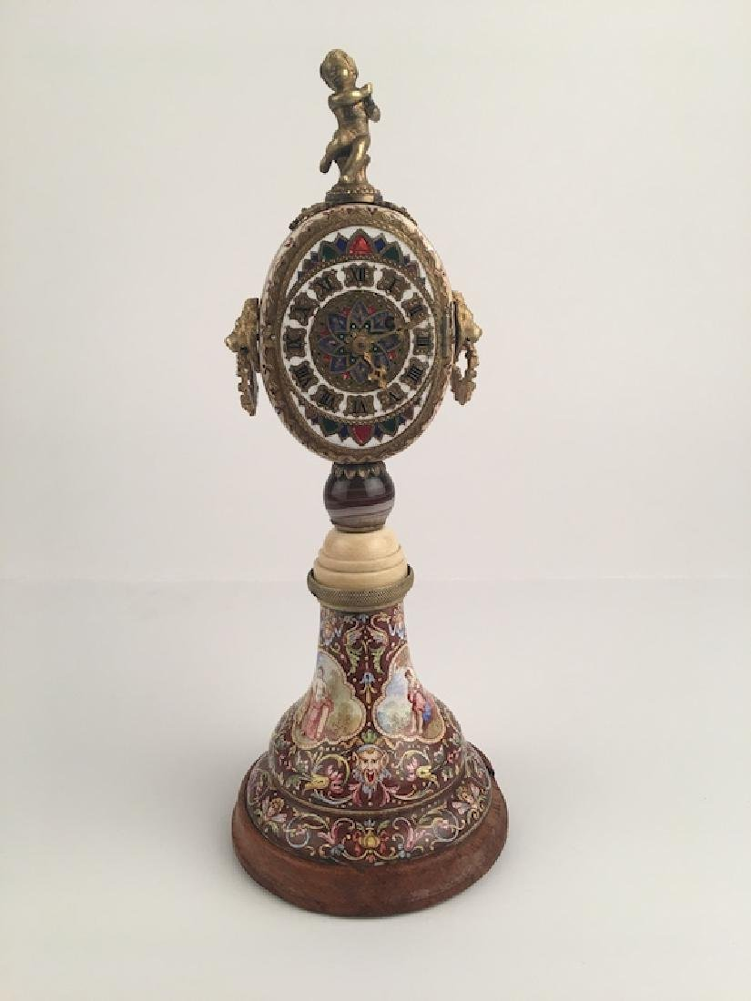 19 th Century Viennese painted enamel clock with a