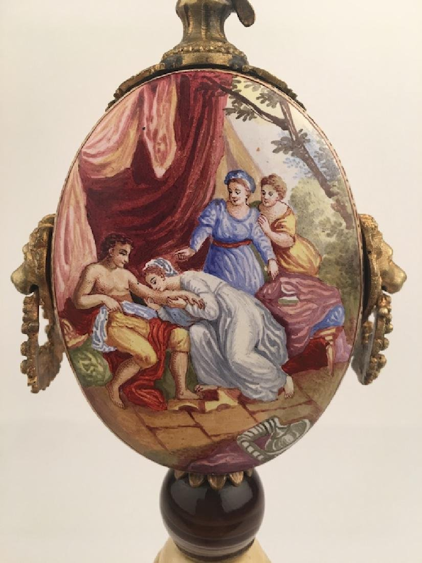 19 th Century Viennese painted enamel clock with a - 2