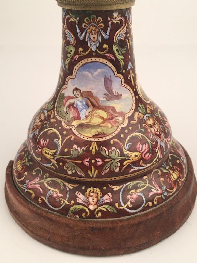 19 th Century Viennese painted enamel clock with a - 3