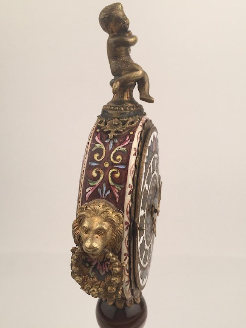 19 th Century Viennese painted enamel clock with a - 5