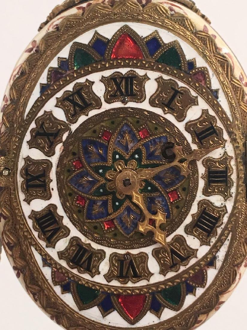 19 th Century Viennese painted enamel clock with a - 7