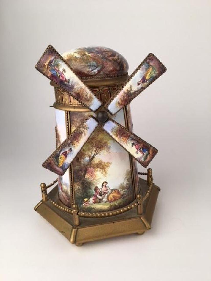 Austrian painted gilt bronze and enameled Windmill