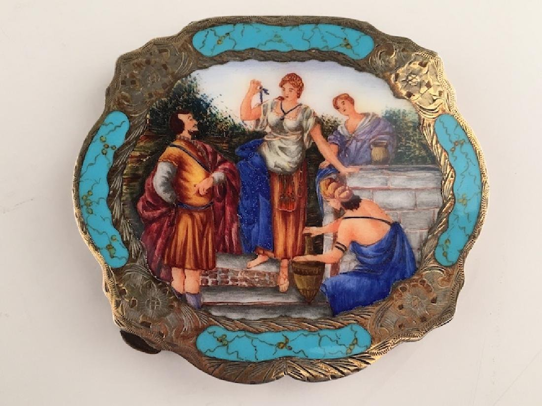 Enamel silver compact with a Grecian painted scene on