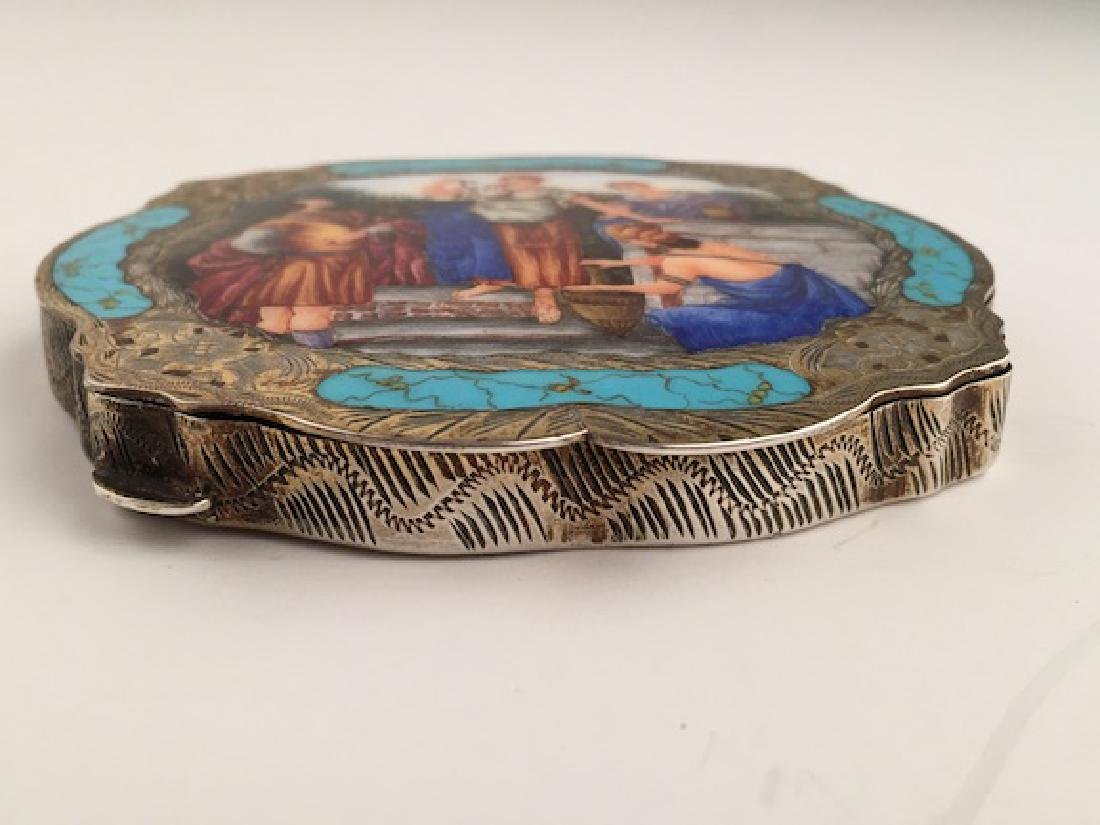 Enamel silver compact with a Grecian painted scene on - 4
