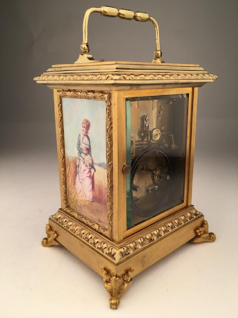 French gold gilt repeater clock with painted porcelain - 2