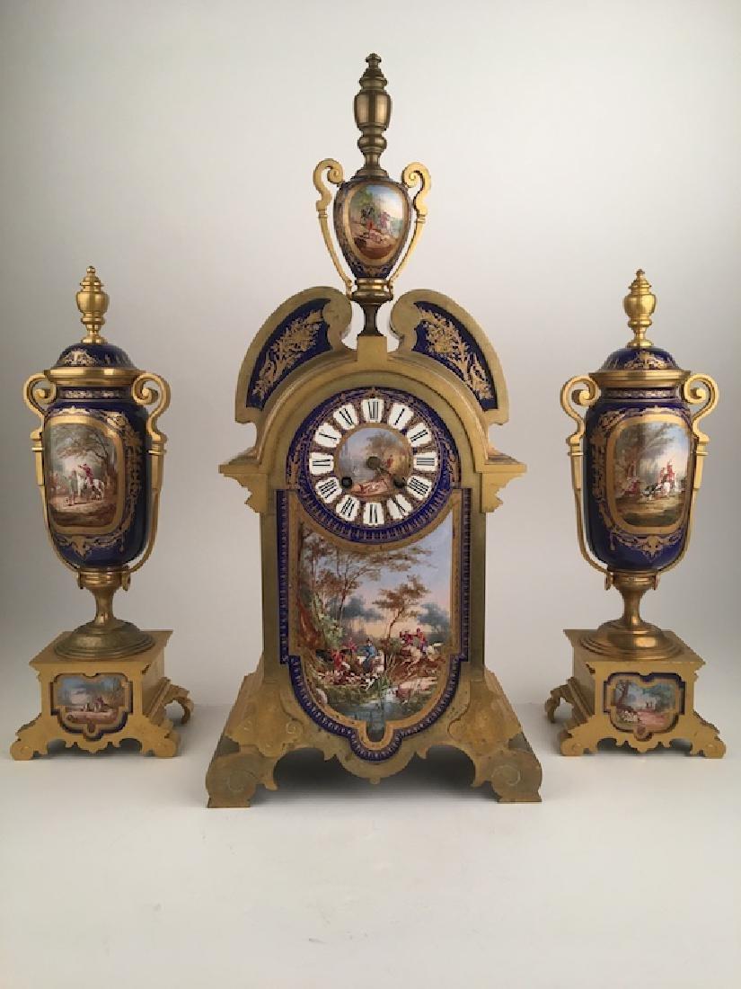 19 th Century Sevres porcelain clock set. Painted
