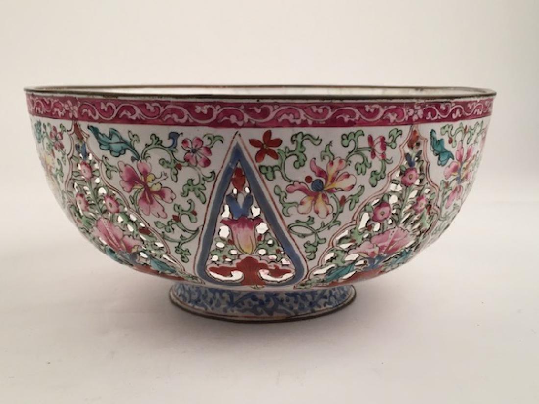 Antique reticulated enamel on metal bowl. Diameter 7