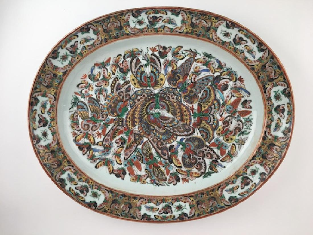 Japanese large porcelain platter with butterflies in
