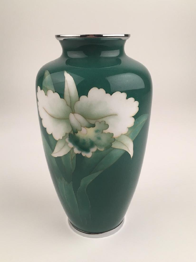 Japanese jade green cloissoine vase with chrome top and