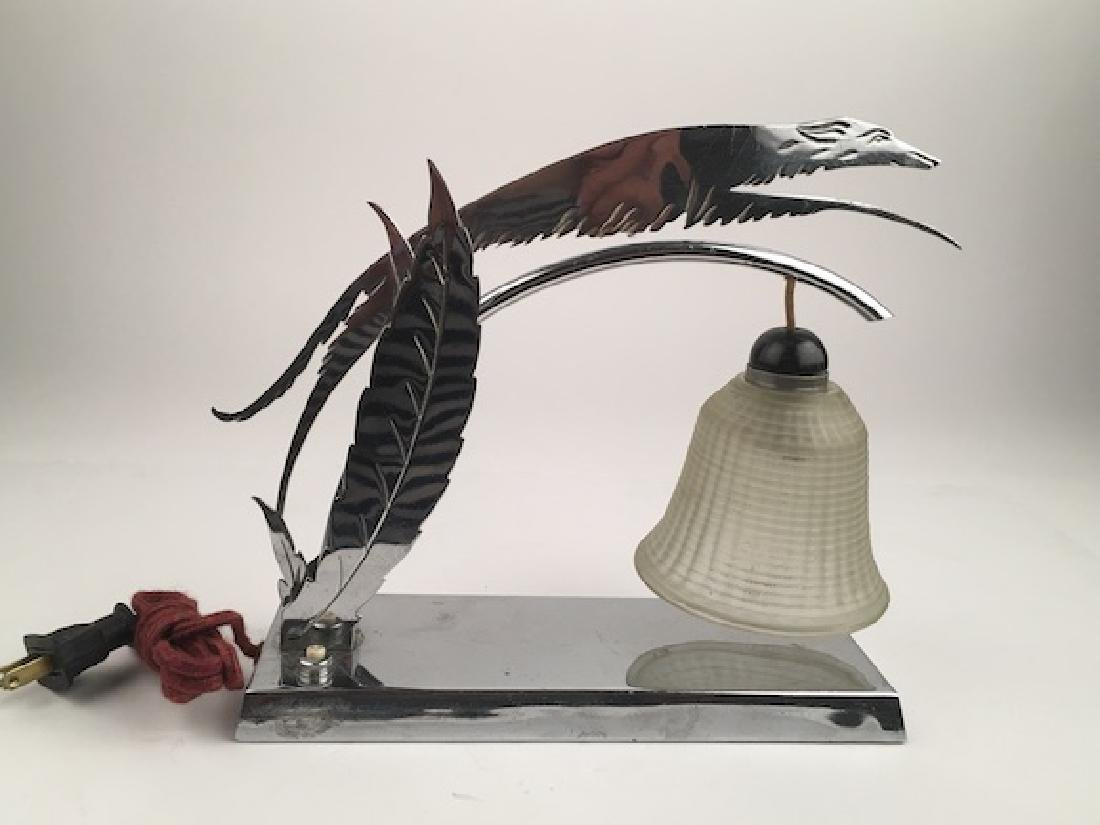 Le Levrier chrome art deco lamp and glass shade.