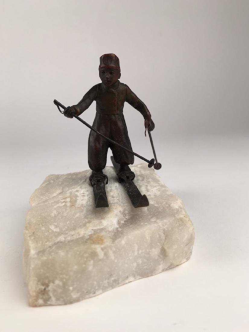 Cold painted Vienna bronze of a Skier