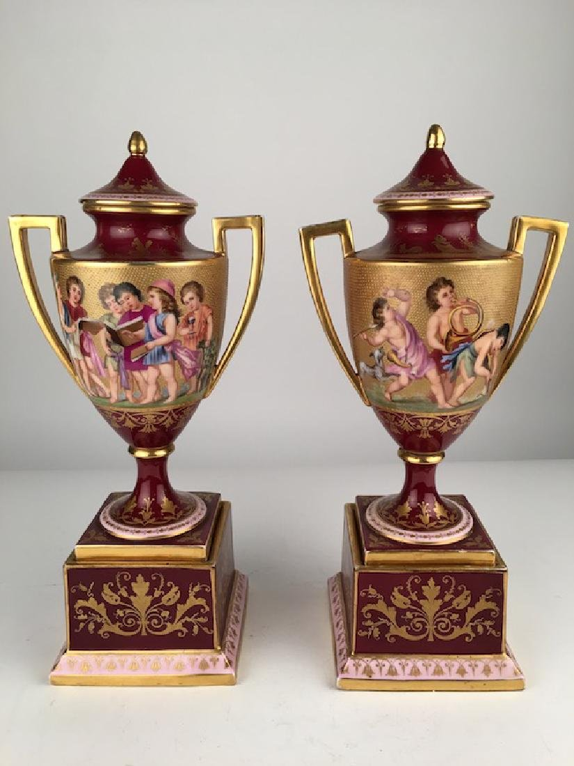 18 th Century Royal Vienna painted porcelain urns with