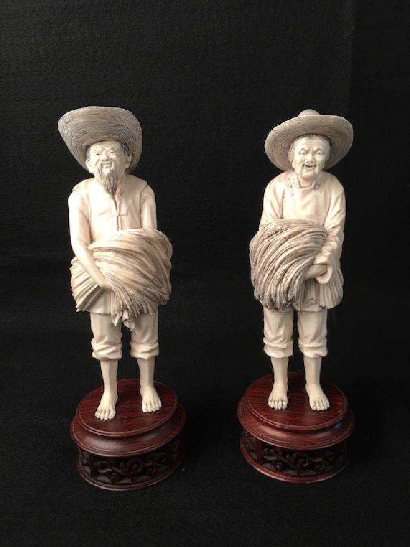 Chinese pair of carved farmers with the harvest. Each