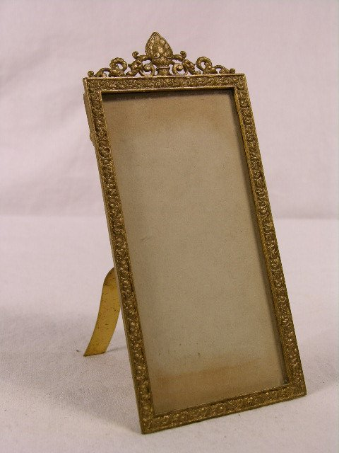 3132: ANTIQUE RETICULATED BRONZE PICTURE FRAME.OVERALL
