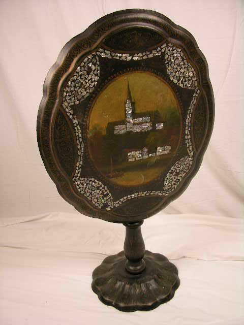 3140: PAPER MACHE TILT TOP TABLE.DECORATED WITH PAINTED
