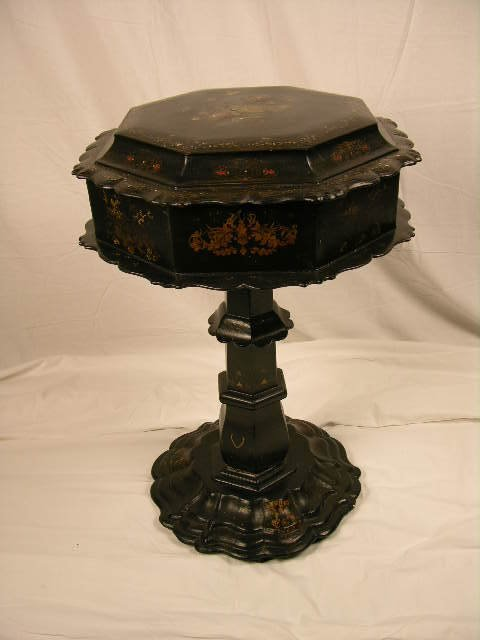 3141: PAPER MACHE TILT TOP SEWING TABLE.DECORATED WITH