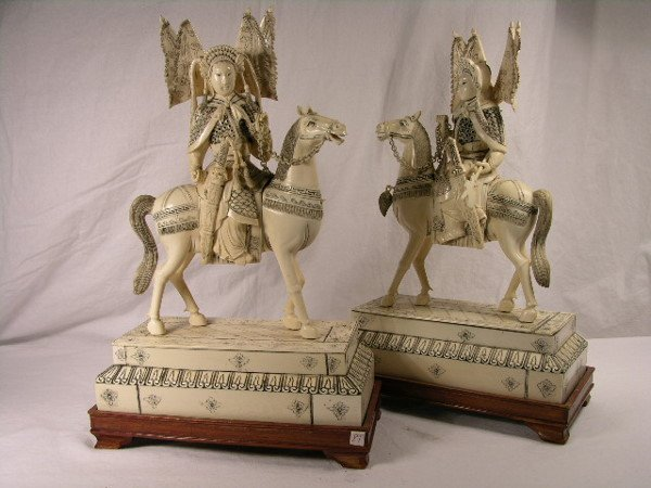 """3150: IVORY WARRIORSPair of warriors approx 14"""" tall on"""