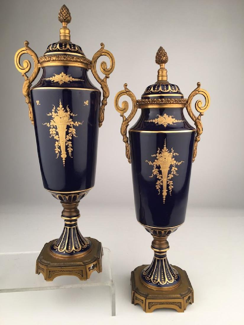Pair of Sevres urns with gold dore bronze handles and - 6