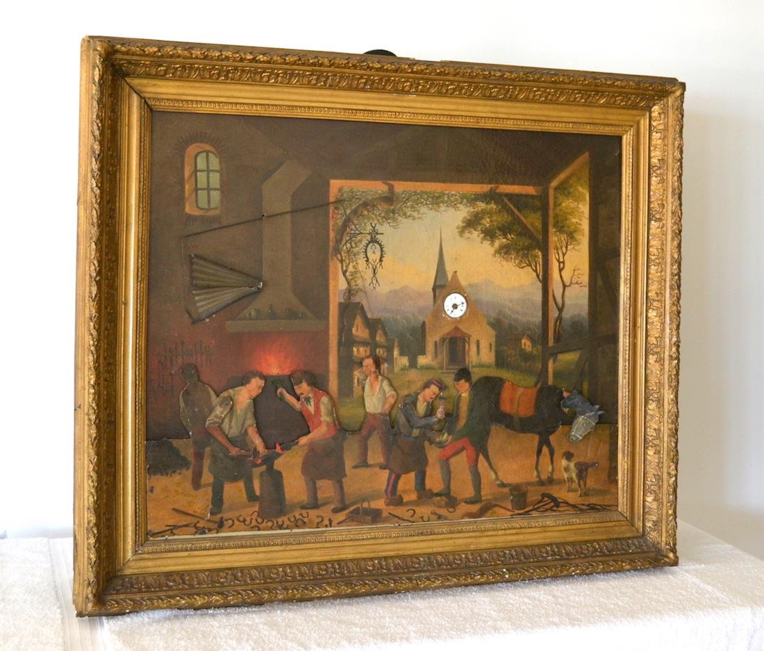 RARE & UNUSUAL ANIMATED CLOCK PAINTING   A rare and