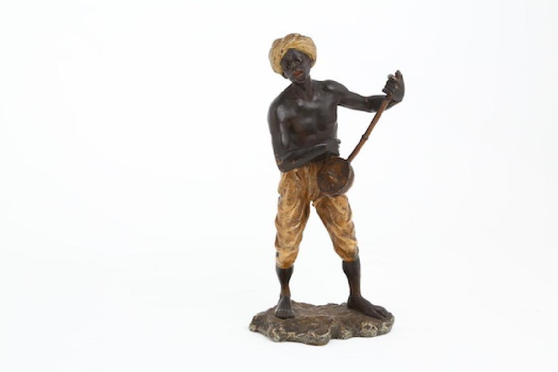 Bergman Vienna bronze figure of a man with mandolin.