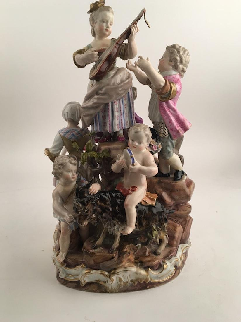 Meissen figural group of seven different people playing