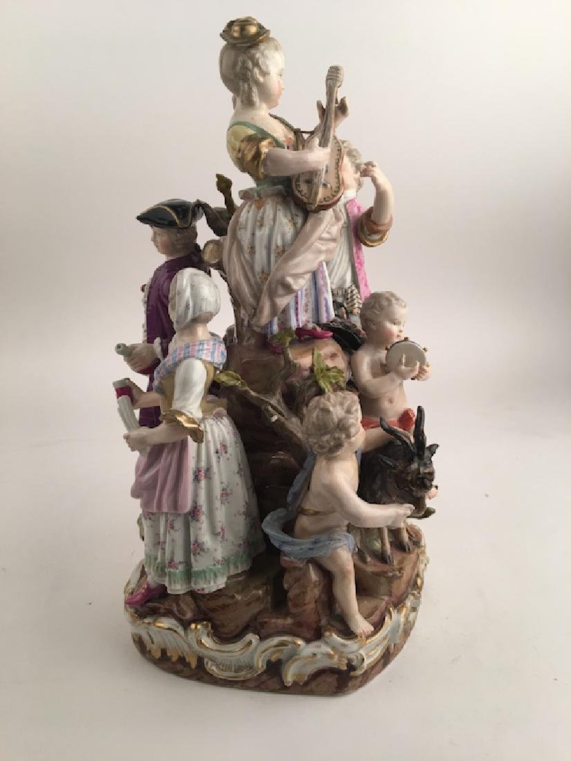 Meissen figural group of seven different people playing - 4