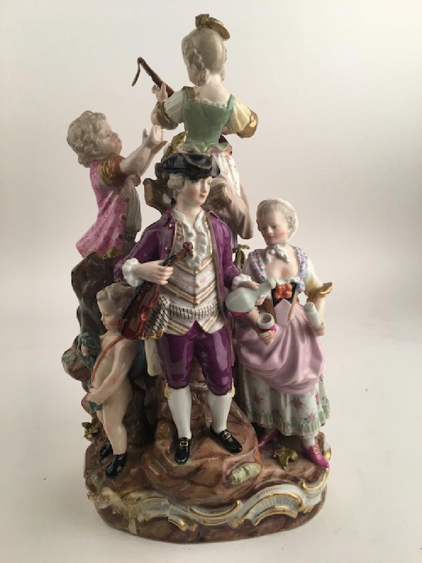 Meissen figural group of seven different people playing - 5