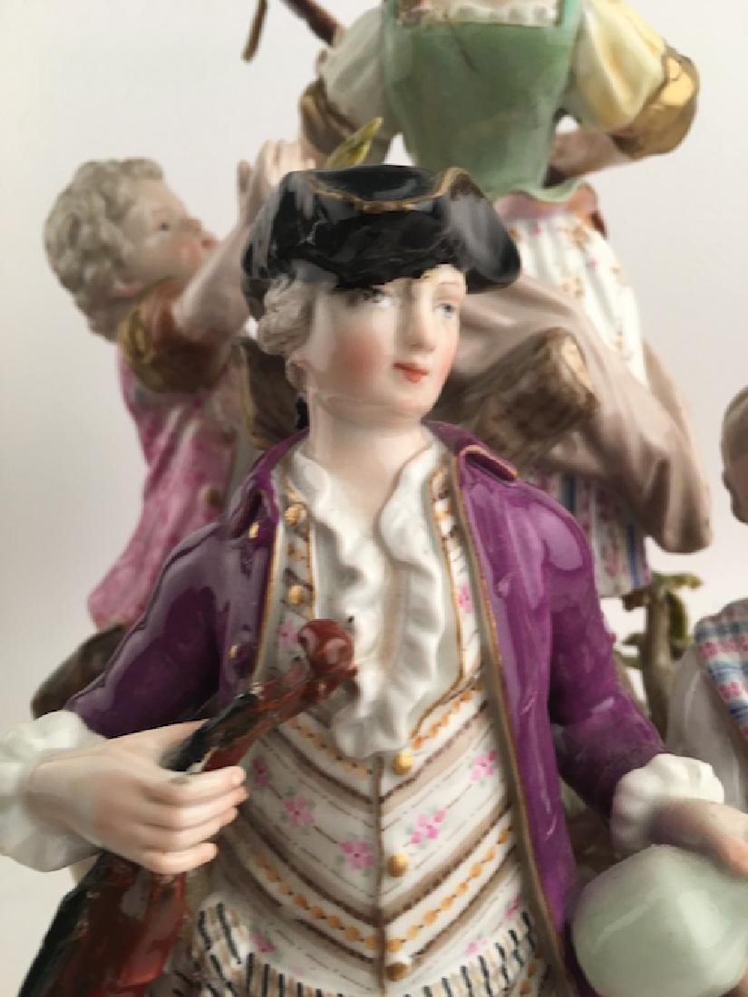 Meissen figural group of seven different people playing - 6