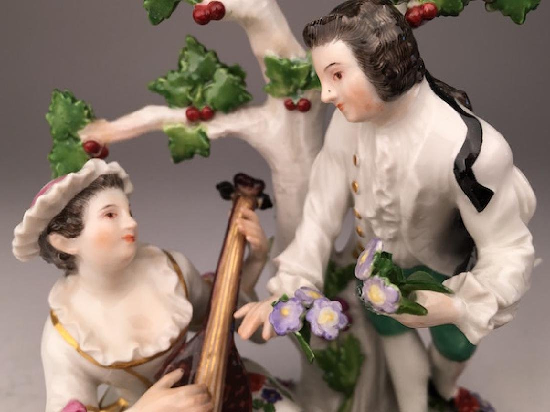 Meissen figurine of a lady playing music to a man - 3