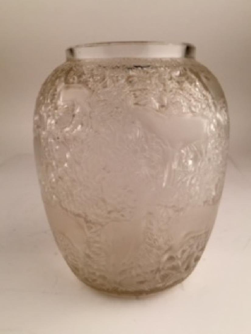 "Lalique ""Biches"" vase in clear and frosty glass. Acid"