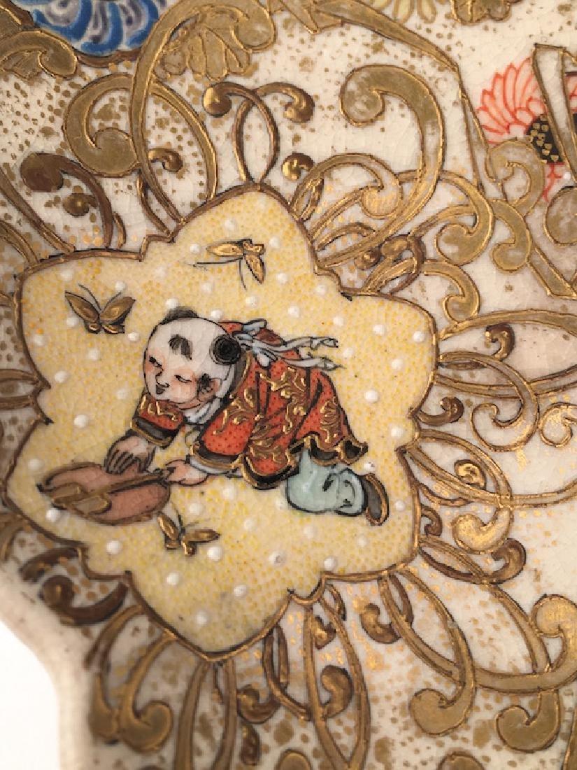 Antique Japanese Satsuma scalloped edge plate. - 8
