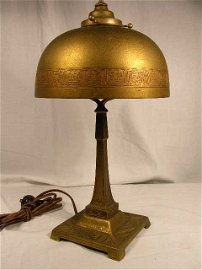"""3547: TIFFANY GILT BRONZE DESK LAMP AND SHADE. IN THE """""""