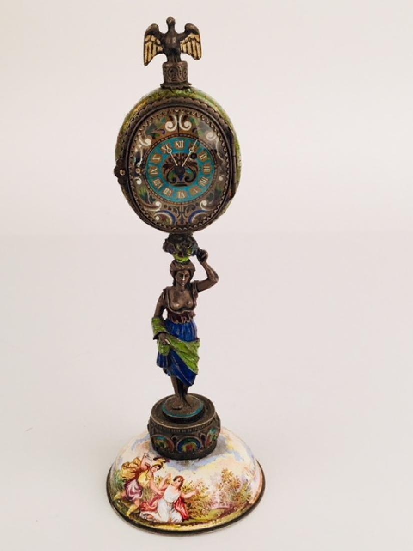 Austrian Viennese enamel painted clock
