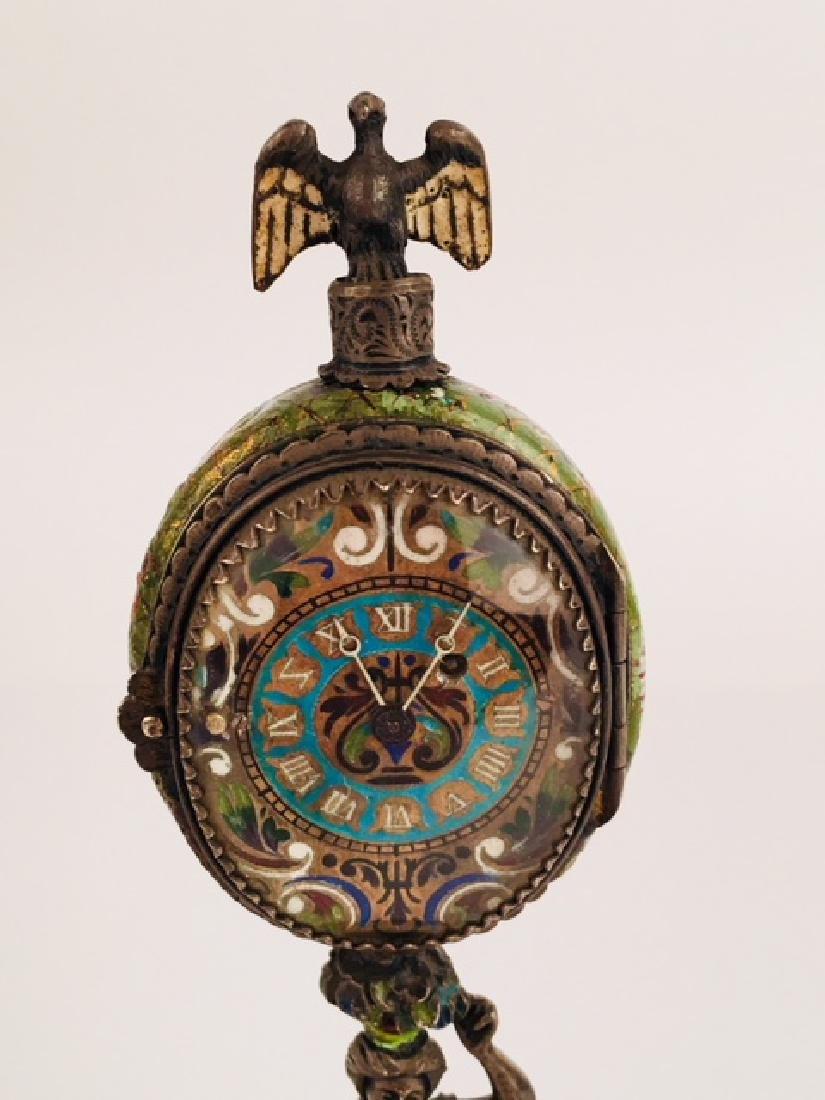 Austrian Viennese enamel painted clock - 2