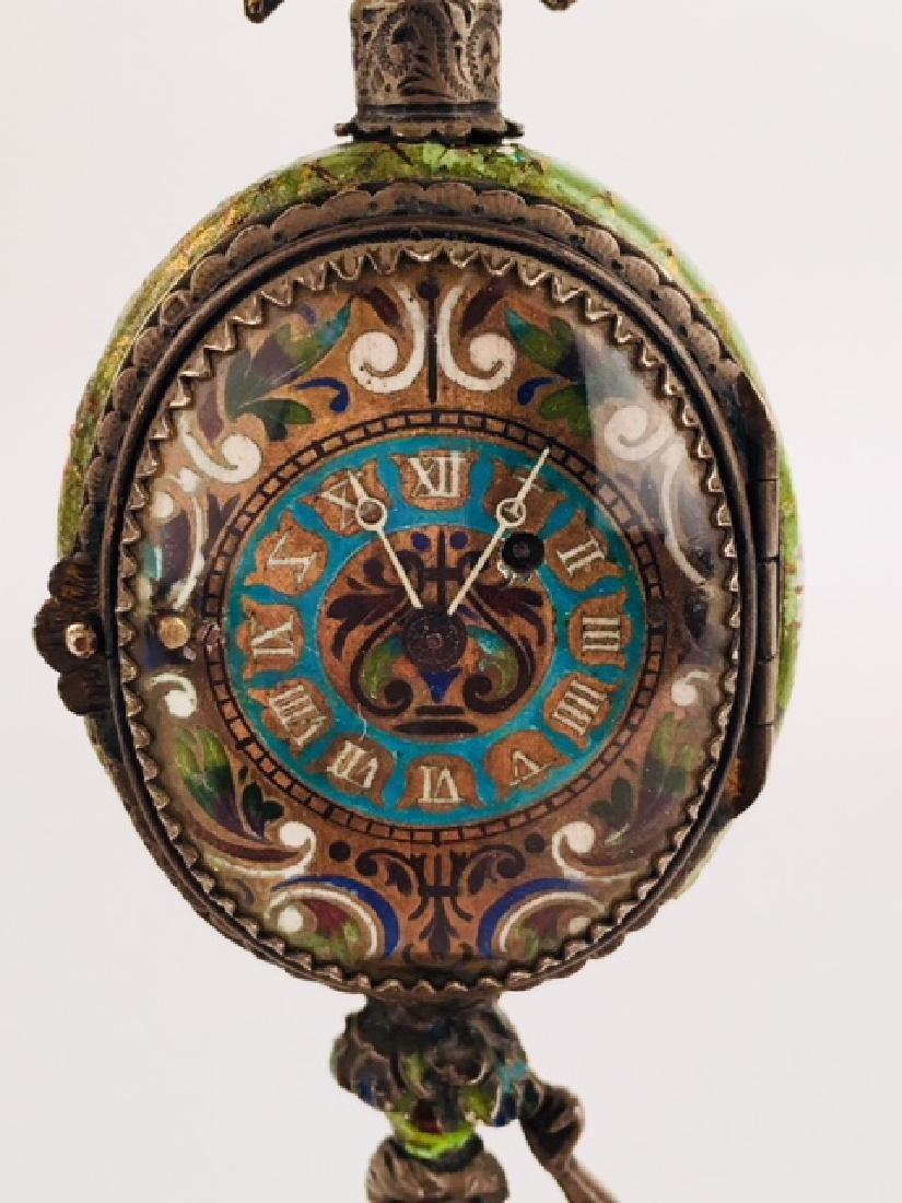 Austrian Viennese enamel painted clock - 7