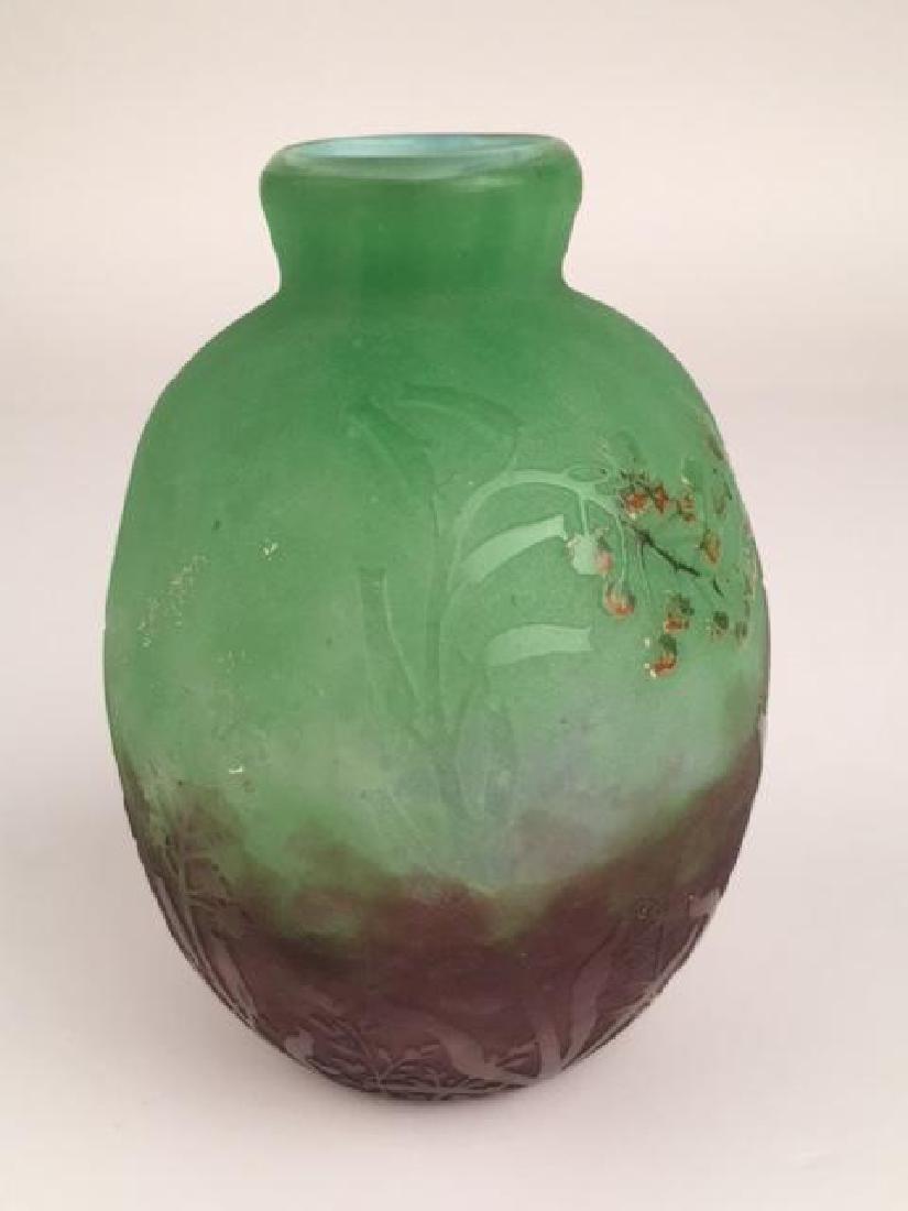 """Daum Nancy cameo vase on a green ground. Signed """"Daum - 2"""
