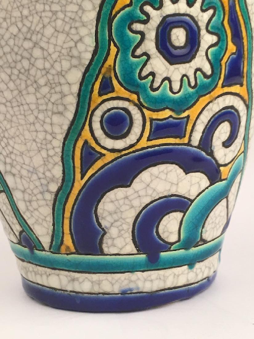 Keramis pottery vase with stylized flowers. - 5